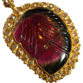 FINEST Vintage Watermelon Tourmaline & Rose Cut Diamond 22ct Gold Pendant on 14k Gold Chain NECKLACE