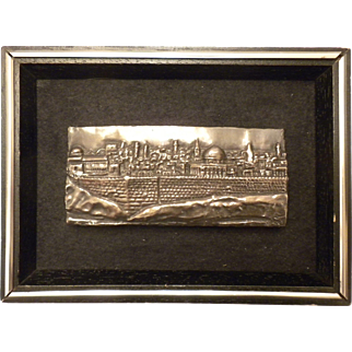 SUPER Vintage ISRAEL Sterling Silver Scenic Landscape Wall Art PICTURE in Small Frame