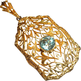THE BEST 1920s Art Deco Vintage 10k Gold & Genuine Blue Zircon Filigree Necklace PENDANT