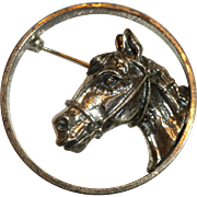 FANTASTIC 1950s Vintage Sterling Silver Horse Portrait Pin Brooch Signed by BEAU
