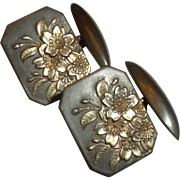 EXTREMELY RARE Antique / Vintage Meiji Period Japanese Silver Floral Cufflinks