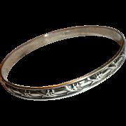 Classic 1950's Vintage Acanthus Leaf Sterling Silver Bangle Bracelet by DANECRAFT