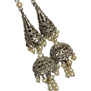 FINEST Early 1900's Sterling Silver & Genuine SEED Pearl Dangle Drop Earrings