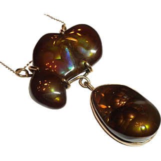 MOST INCREDIBLE 1970s Vintage Slaughter Mountain Fire Agate & 14kt Gold Pendant Necklace