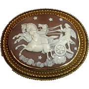 LARGEST & BEST Antique Victorian Multiple Figural Cameo - God or Goddess Helios / Eos 14kt Gold PIN