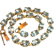 FABULOUS Vintage 10kt Yellow Gold & Genuine Aquamarine Tennis Bracelet - Red Tag Sale Item