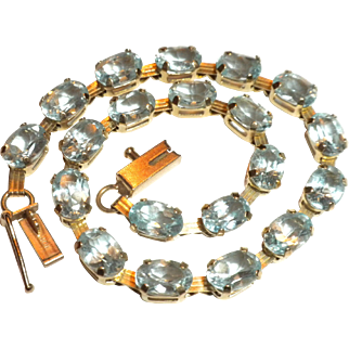 FABULOUS Vintage 10kt Yellow Gold & Genuine Aquamarine Tennis Bracelet