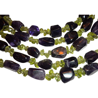 BEAUTIFUL SET of Amethyst & Peridot Beaded Necklace & Bracelet Set - Chinese & Signed
