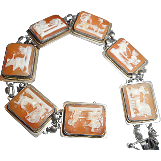 EARLY 1930s Vintage Italian 800 Silver & Carved Shell Figural Cameo Link BRACELET