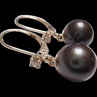 FANTASTIC Estate - 14kt Gold Cultured Black Pearl & Diamond Dangle Earrings ON CARD $560.00