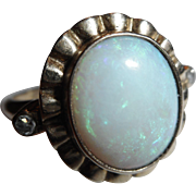 1930 - 1940 Vintage 10kt Yellow Gold Natural OPAL & Diamond Cocktail Dinner Ring