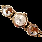 THE BEST 1940's Vintage 14kt Gold Essex Crystal Horse Bracelet WATCH - Must See!