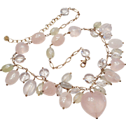 LOADED w/ Rose Quartz HEARTS & Faceted Gemstones Beaded Sterling Silver NECKLACE