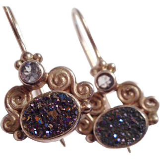 AWESOME - Sterling Silver French Wire Druzy Quartz Dangle Earrings by SAJEN