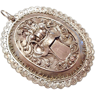EARLY & LARGE Vintage Bali or Chinese Sterling Silver Granulation Necklace Pendant of Front View DRAGON