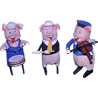 Schuco Disney German Three Little Pigs wind up toys 1930