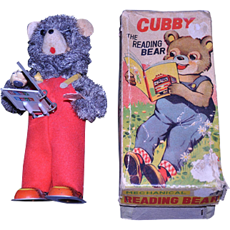 ALPS Cubby The Reading Bear Mechanical Tin Wind Up Toy 1950's