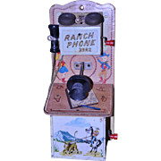1950's Tin Toy Ranch Phone 39R2 by Gong Bell Toy Co.