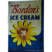 SUMMER SALE LG Vintage DBL sided Porcelain Borden's Milk Elsie the Cow Advertising Sign