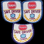 "3 3"" Vintage Borden's Unused Milk Safe Driver Patches"