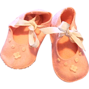 Vintage Pair 1940s Child Infant Hand made Pink Felt Slippers Shoes