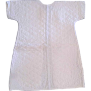 Vintage Hand Made White Quilted Baby Infant Robe Gown Embroidered Roses