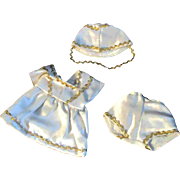 """Vintage Mommy Hand Made White Satin Majorette Outift for Ginny Muffie or other 8"""" Doll"""