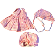 "Mommy or Home Made Pink Gingham Check Dress Outfit for Ginny Muffie or other 8"" Doll"