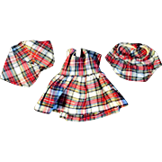 """Vintage Mommy Hand Made Red Green Plaid Outfit for Ginny Muffie or other 8"""" Dol"""