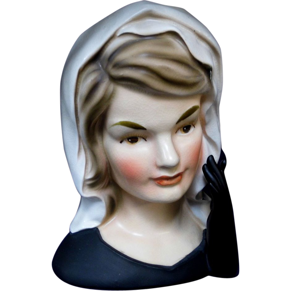 Inarco E 1852 Jackie Kennedy In Mourning Lady Head Vase