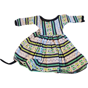 "1950s Vogue Jill Uneeda Tiny Teen Other 10"" Fashion Doll Green Patterned Cotton Dress"