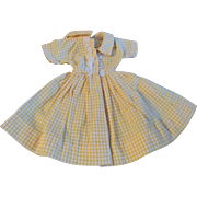 """1950s Vogue Jill Uneeda Tiny Teen Other 10"""" Fashion Doll Yellow White Check Dress"""