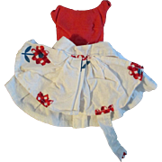 "1950s Vogue Jill Uneeda Tiny Teen Other 10"" Fashion Doll Red White Outfit"