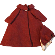 "1950s Vogue Jill Uneeda Tiny Teen Other 10"" Fashion Doll Burgundy Cloth Coat Hat"