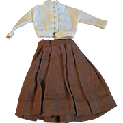 "1950s Vogue Jill Uneeda Tiny Teen Other 10"" Fashion Doll Outfit Brown Skirt White Blouse"