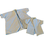 """1950s Vogue Jill Uneeda Tiny Teen Other 10"""" Fashion Doll Blue White Check Bed Ensemble"""