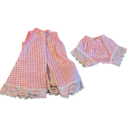 "1950s Vogue Jill Uneeda Tiny Teen Other 10"" Fashion Doll Pink White Check Pajama set"