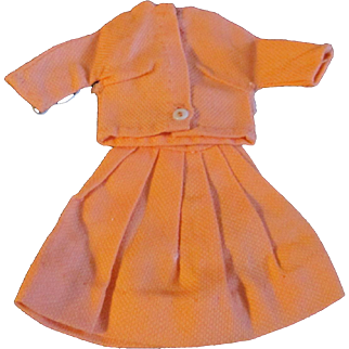 """1950s Vogue Jill Uneeda Tiny Teen Other 10"""" Fashion Doll Orange Skirt Blouse Outfit"""