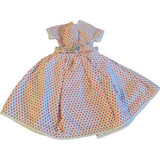 "1950s Vogue Jill Uneeda Tiny Teen Other 10"" Fashion DollRed Polka Dot Day Dress"