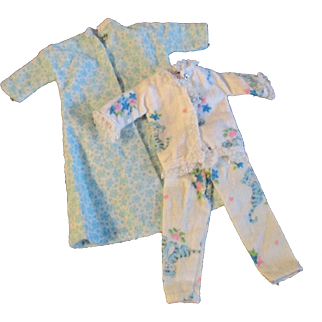 """1950s Vogue Jill Uneeda Tiny Teen Other 10"""" Fashion Doll Flannel Pajamas Robe"""