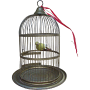"12"" Vintage Brass Gold-tone Metal Bird Cage with Bird"