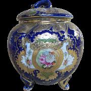 "7.5"" 1880s Royal Nippon Cobalt Blue Footed Jar"