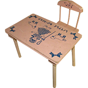 Cute Pink Little Bo Peep Table and Chairs for Medium Vintage Doll