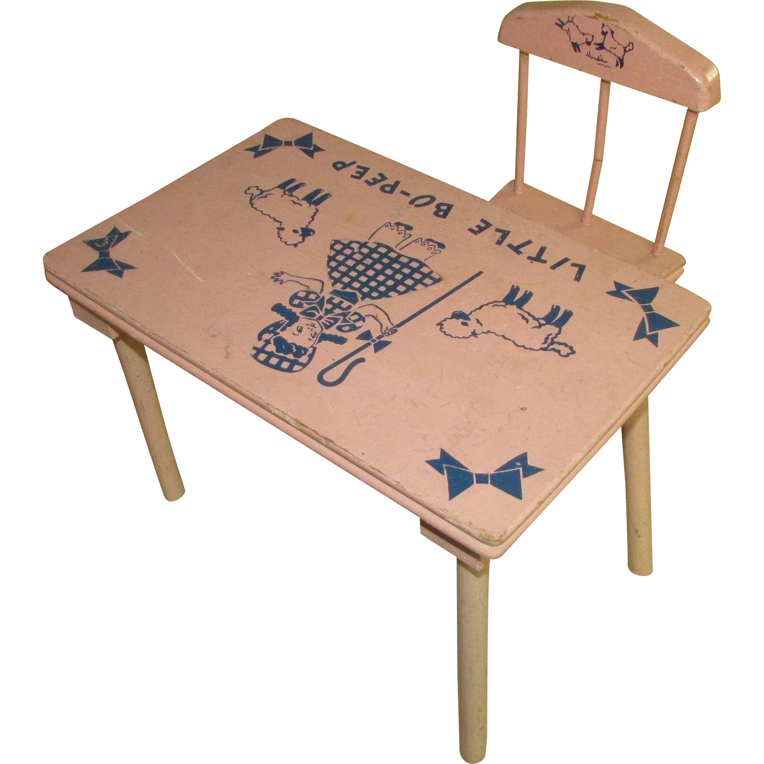 Cute Pink Little Bo Peep Table And Chairs For Medium Vintage Doll : David  Fair On The Square | Ruby Lane