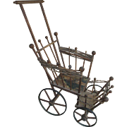 "24"" Antique Wicker Wood Doll Buggy Stroller Carriage"