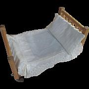 """16"""" Primitive Vintage Wood Wooden Slat Doll Bed"""