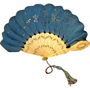Phenomenal Teal Antique Victorian Child Doll Fan Metal Applique