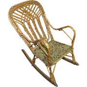 "12"" Vintage WIcker Doll Rocker Rocking Chair"