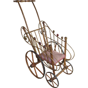 """25"""" Antique Bentwood Wood Doll Carriage Buggy Stroller"""