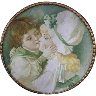 """7.5"""" Late 19th Early 20th Century Chimney Flue Cover Boy Girl Kissing"""